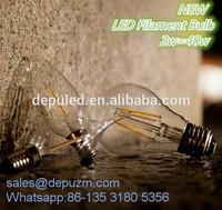 Zhongshan China led bulb glass E27 2w 4w 6w 1.75mm abs filament