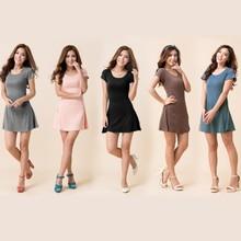 women summer dress New Korean Girl Mini Dress Short Sleeve Candy Color One-piece Slim Basic Dresses vestidos femininos
