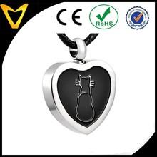 2015 Alibaba Website Fashion Jewelry Wholesale Cat Heart Cremation Jewelry Pendant Keepsake Memorial Urn Necklace Steel