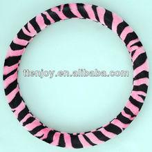 Zebra-stripe Pink Velour Car Steering Wheel Cover