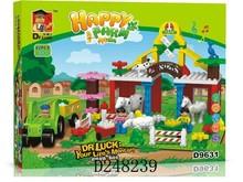 2015 children plastic happy farm series self assembling building block toys funny 88PCS D248239