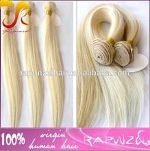 White blonde yaki straight hair brazilian human hair sew in weave