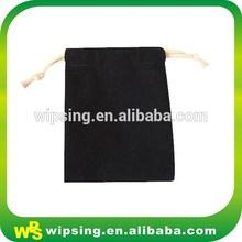 Custom drawstring black cotton linen bags