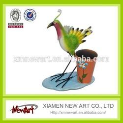 Latest new design hot sale metal mini flower pot with bird aniamals