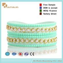 Slake style cystal jewelery, stainless steel snap buttons, women's leather wrap bracelet