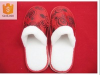 High quanlity Plush Indoor slippers with EVA sole/Red Wedding Slippers/Winter Outdoor slippers