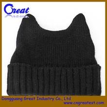 High Quality Cute Black Cat Ears Beanie Hat