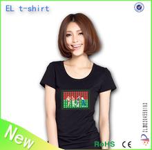 plain round neck el t-shirt /led light panel tshirt/ el t shirts manufacturers China