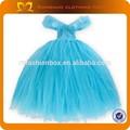 2015 nova manga comprida girls ' Tutu vestidos de flores crianças vestido azul vestido de tule criança