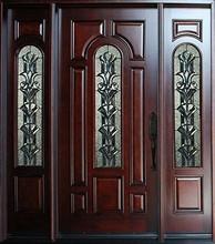 Solid Wood Entry Door Single Two Sidelights Prehung Dark Mahogany Finish 525 2SL