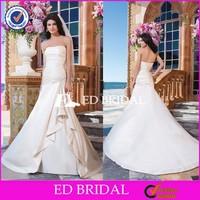 Cheap Strapless Appliqued A Line Beach Ruffle Ivory Satin Wedding Dress 2015