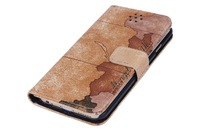 2015 newest google Map leather cover for iphone 6 plus 5.5 with card holding slots, Map leather case for iphone 6plus with card