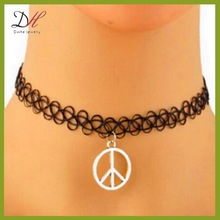 Daihe DH-NC1189 Peace black weave tattoo stretch collar choker necklace, round pendant necklace