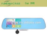 2015 car rearview mirror car dvr optical zoom WIFI FM bluetooth av-in with 1080p dual camera