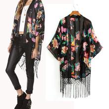 Adult NEW Vintage Retro Women Ethnic floral tassels Loose Kimono Cardigan Jacket chiffon blouse Coat Instyles ZT002509