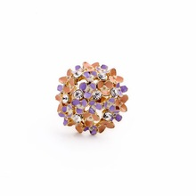 2015 fashion oil-spot glaze flower crystal rings for women