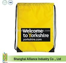Custom Logo Sports Yellow Drawstring Bag with PVC Reinforced Corners