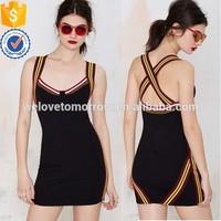 High quality factory design women fitness body black spandex slim dress