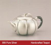 cute pumpkin shaped teapot , pure 999 silver teapot