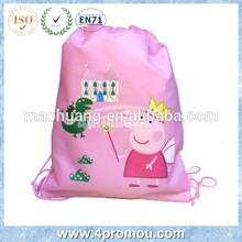 Pig Kid drawstring bag for back to school Pink color