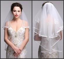 New Style 2015 Wedding Veils One Layer Short Appliqued Beaded Bridal Veil Trim