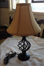 Very Nice Black Iron reading light Swirl Cage Bed Table Accent Lamp with Waisted round lampshade CUL CE ROHS SAA CCC