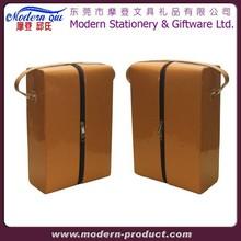 Portable Bag Cardboard Box Bottle PU Faux Leather Wine Carrier