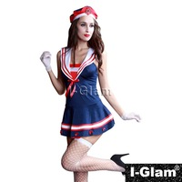 I-Glam Sexy Lingerie Costume Military outfi Cosplay Stewardess Girl DS Night Club Dance Dress Bar Girl Red and Blue