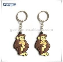 3d animal keychain, pvc keyring, monkey shaped keychain