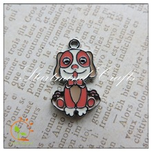 Lovely enamel small dog charms for scrapbooking