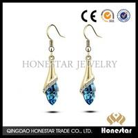 Hot sale crystal drop dangle zircon anti allergy earring