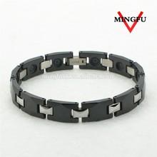 New 316L SS and black ceramic healthy fashion men's bracelet