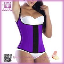 Wholesale Steel Bone Purple Halter Waist Latex Corset Body Slimming Shapewear