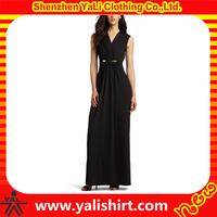 2015 Fashion elegant sleeveless black long evenning dress, sexy ankle length evening gown of chiffon