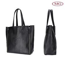 wholesale china manufacturer Black genuine leather snake grain women shoulder bag