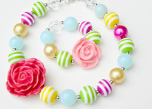 Superstar accessories jewelry children chunky Bubblegum Beads Necklace, Kids Rainbow Beads Necklace In Stock