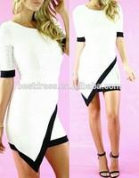 Latest weatern lady half sleeve cotton patchwork dresses elegant woman fashion autumn aliexpress dress bodycon