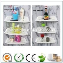 plastic wall mounted bath rack, single corner shelf