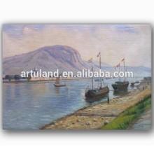 Handmade boat landscape art painting