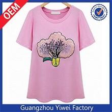 Fashion neon pink spandex fat girls t shirt for summer