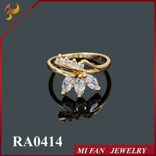 18k gold plated ring Wholesale Fashion Jewelry Gold Ring White Zircon