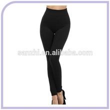 Ladies 100% Cotton One Size Fits All Solid Color Black Elasticated Cheap Plain Leggings