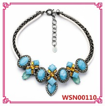 2015 Ethnic Style Antique Gun Plated Turquoise Statement Necklace
