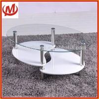 Glass coffee table with high gloss MDF shelf