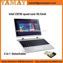 10.1-Inch Intel Atom Z3735F quad core detachable notebook tablets