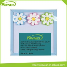 Blue MDF frame flower decoration lockable notice board