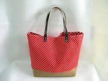 Red Polka Dot Tote Bag Purse Tote Linen Bag