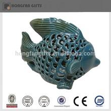 Fashion glazed led ceramic green decorative fish light