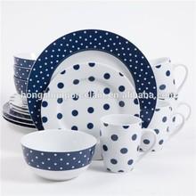 16 piece dinnerware sets circle edge dots