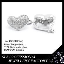 Sterling silver hoop/huggie earring for chrildren gift 2015,heart shaped stone earrings ,earring designs hot in Alibaba